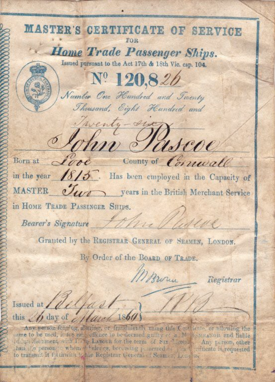John Pascoe Master's Certificate