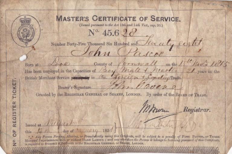 John Pascoe Master's Certificate1