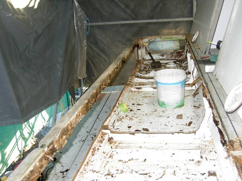 Rot repair to hull extension
